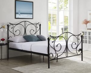 Metal Bed in a bedroom