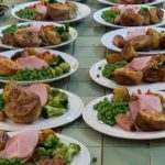 9 plates of traditional roast dinner